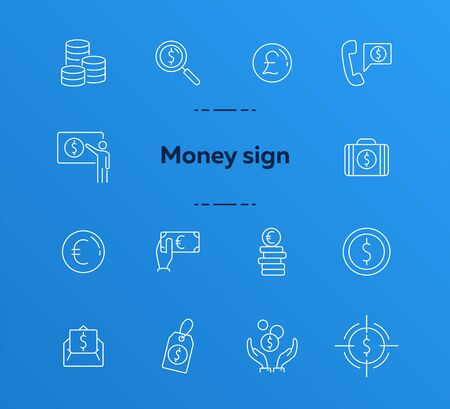 Money sign icon set. Coin, currency, wealth. International business concept. Can be used for topics like global trade, wealth, currency converting