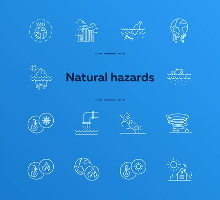 Natural hazards icons. Set of line icons. Liquid wastes, melting planet, tornado. Ecology concept. Vector illustration can be used for topics like environment protection, nature