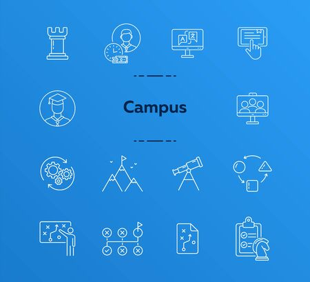 Campus line icon set. Activity, studying, gamification. College life concept. Can be used for topics like education, university, development  イラスト・ベクター素材