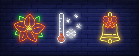 Winter holidays neon sign set. Poinsettia, thermometer, bell. Night bright advertisement. Vector illustration in neon style for banner, billboard Illustration