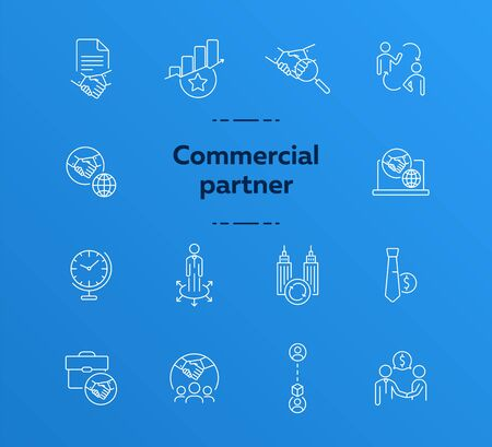 Commercial partner icons. Set of line icons. Global time, successful rating, cooperating firms. Partnership concept. Vector illustration can be used for topics like business, cooperation, negotiation