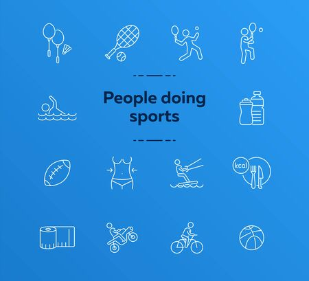 People doing sports line icon set. Tennis, cycling, diet. Healthy lifestyle concept. Can be used for topics like physical activity, training, leisure