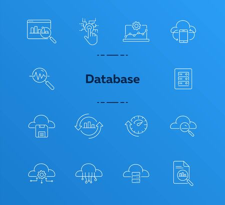 Data line icon set. Information, connection, storage. Cloud service concept. Can be used for topics like technology, innovation, mining