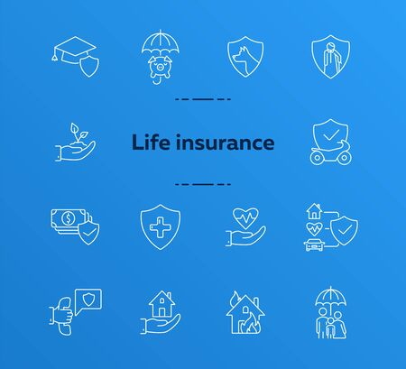 Life insurance line icon set. Shield, home, property. Protection concept. Can be used for topics like accident, security, service