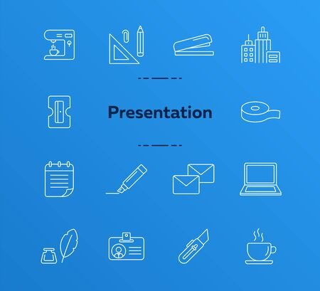 Presentation icon set. Line icons collection on white background. Supply, stationary, workspace. Office concept. Can be used for topics like school, college, business Çizim