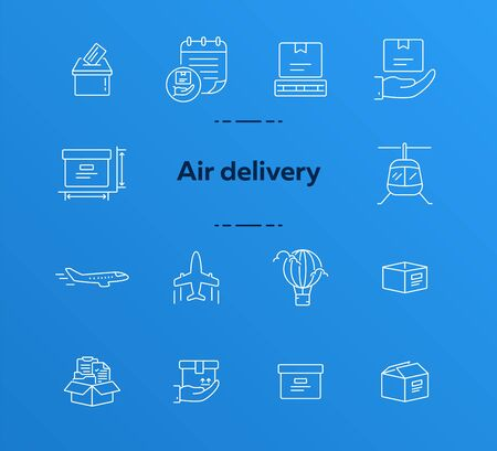 Air delivery icons. Set of line icons. Helicopter, parcel size, open box, mailbox. Delivery concept. Vector illustration can be used for topics like transportation, service, post