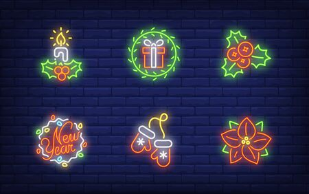 Christmas symbols in neon style set. Glowing neon candle, mittens, hollen. Holiday, celebration, present. Vector illustration in neon style for greeting card, invitation, announcement Illusztráció