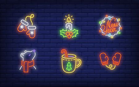 Winter holiday symbol neon sign collection. Glowing neon bear, mittens. Holiday, celebration, present. Vector illustration in neon style for greeting card, invitation, announcement