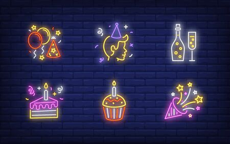 New Year party neon sign set. Glowing neon cake, balloons. Holiday, celebration, present. Vector illustration in neon style for greeting card, invitation, announcement