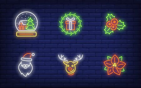 Christmas symbols neon sign collection. Glowing neon deer, poinsettia, Santa. Holiday, celebration, present. Vector illustration in neon style for greeting card, invitation, announcement