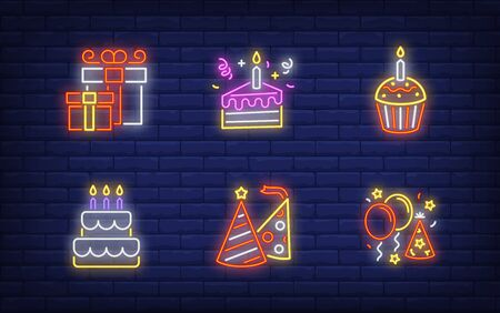 New Year party neon sign collection. Glowing neon giftbox, cake. Holiday, celebration, present. Vector illustration in neon style for greeting card, invitation, announcement Illusztráció