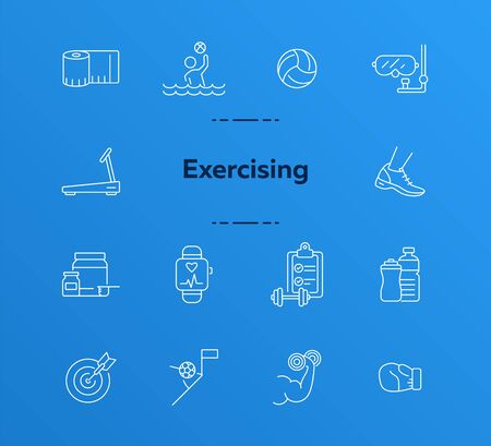 Exercising line icon set. Supplement, game, exercising. Healthy lifestyle concept. Can be used for topics like physical activity, leisure, wellness