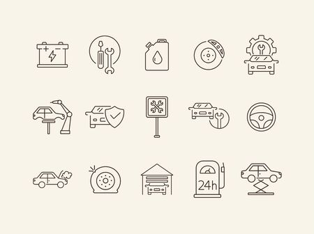 Automobile service icons. Set of line icons. Wheel, car lift, accumulator. Car repair concept. Vector illustration can be used for topics like car service, business, advertising