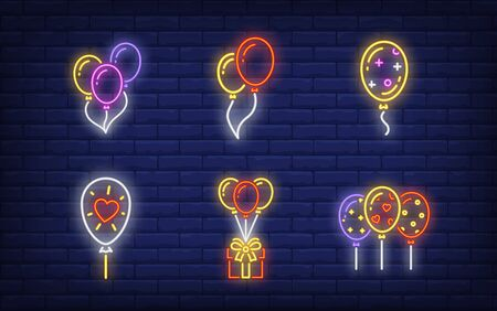 Balloons neon sign set. Glowing neon balloons and gift. Holiday, celebration, present. Vector illustration in neon style for greeting card, invitation, announcement