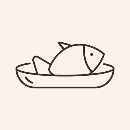 Fish on plate line icon. Fish, dish, cooking. Restaurant business concept. Vector illustration can be used for topics like business, catering trade, cuisine