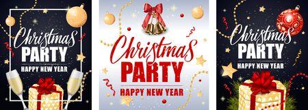 Christmas Party invitation poster set. Golden bells, baubles, Champagne flutes, streamer, sparkle, gifts on black background. Vector illustration for festive leaflet, banners, flyers