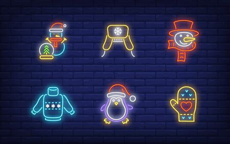 Winter holidays neon sign collection. Glowing neon sweater, penguin. Holiday, celebration, present. Vector illustration in neon style for greeting card, invitation, announcement Illusztráció