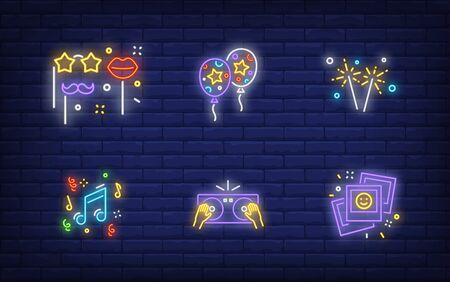 Winter holidays in neon style collection. Glowing neon photos, balloons. Holiday, celebration, present. Vector illustration in neon style for greeting card, invitation, announcement Illusztráció