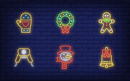 Winter holidays in neon style set. Glowing neon wreath, snowman. Holiday, celebration, present. Vector illustration in neon style for greeting card, invitation, announcement Illusztráció