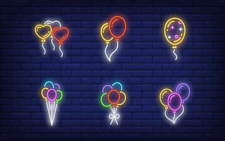 Balloons neon sign collection. Glowing neon balloons and gift. Holiday, celebration, present. Vector illustration in neon style for greeting card, invitation, announcement