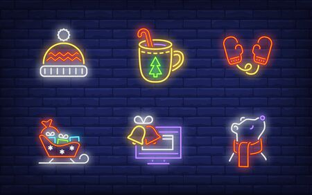 Winter symbol in neon style set. Glowing neon hat, sledge. Holiday, celebration, present. Vector illustration in neon style for greeting card, invitation, announcement