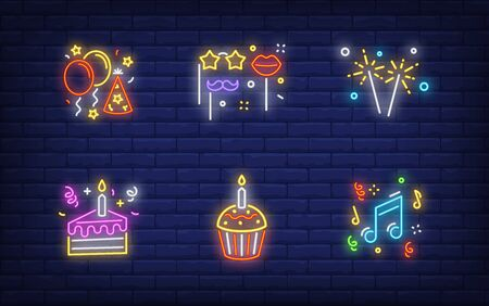 Christmas party in neon style collection. Glowing neon cake, Bengal light. Holiday, celebration, present. Vector illustration in neon style for greeting card, invitation, announcement