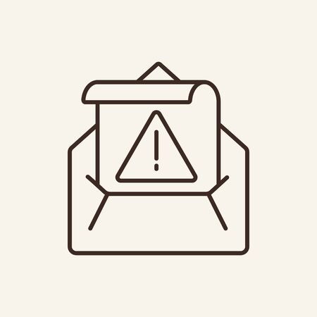 Envelope and exclamation sign on paper line icon. Attention, padlock, letter. Data protection concept. Vector illustration can be used for topics like information, protection, internet Zdjęcie Seryjne - 132542968