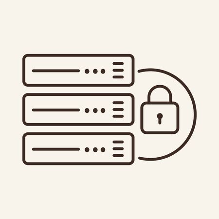 Server and closed padlock line icon. Server, network, defense. Data protection concept. Vector illustration can be used for topics like information, protection, internet Zdjęcie Seryjne - 132545272