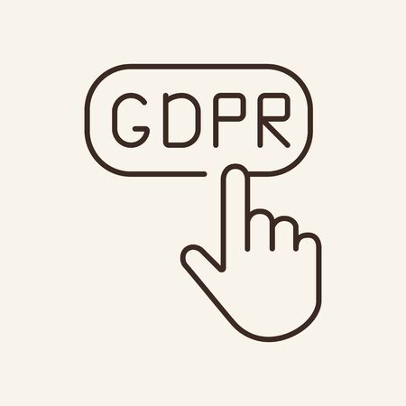 Hand clicking button line icon. Pushing, finger, GDPR. Data protection concept. Vector illustration can be used for topics like information, protection, internet