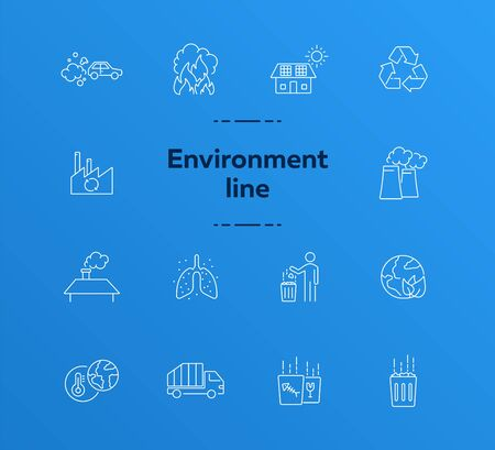 Environmental contamination line icons set. Air pollution, planet contamination, greenhouse effect. Environment concept. Vector illustration can be used for topics like environment, nature, industry