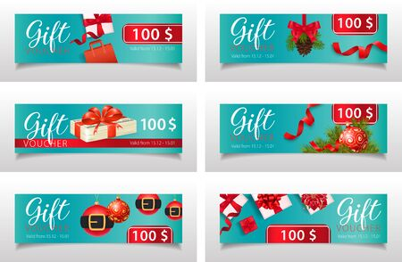 Christmas gift voucher set with amount, shopping bag, present, bauble, fir tree on pale blue background. Vector illustration for advertising design, flyers, leaflet