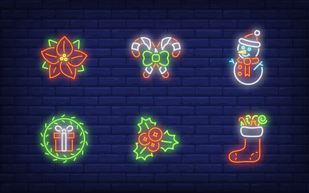 Christmas symbols neon sign set. Glowing neon snowman, hollen, candies. Holiday, celebration, present. Vector illustration in neon style for greeting card, invitation, announcement Illusztráció