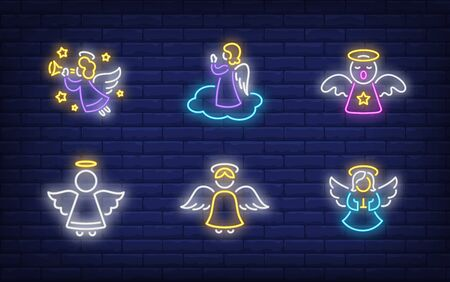 Angels neon sign set. Glowing neon figures. Holiday, celebration, present. Vector illustration in neon style for greeting card, invitation, announcement Illusztráció