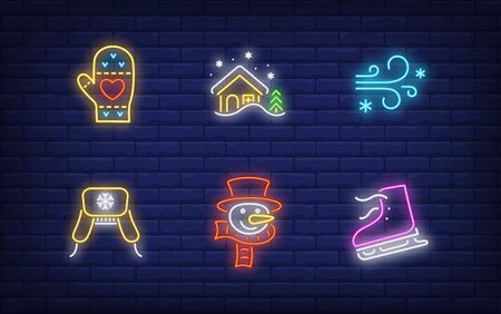 Winter holidays neon sign set. Glowing neon mitten, house. Holiday, celebration, present. Vector illustration in neon style for greeting card, invitation, announcement Illusztráció
