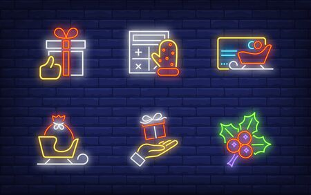 Winter shopping neon sign set. Glowing neon sledge, hollen. Holiday, celebration, present. Vector illustration in neon style for greeting card, invitation, announcement Illusztráció