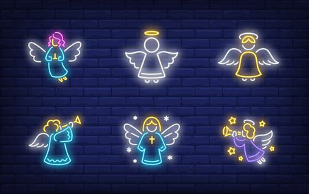 Angels neon sign collection. Glowing neon figures. Holiday, celebration, present. Vector illustration in neon style for greeting card, invitation, announcement
