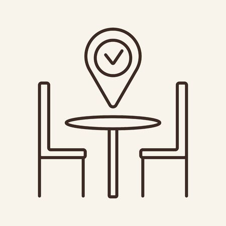 Location mark with tick above table line icon. Furniture, location, map. Restaurant business concept. Vector illustration can be used for topics like business, catering trade, cuisine