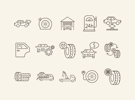 Car fix icons. Set of line icons. Changing tyres, pressure, door. Car repair concept. Vector illustration can be used for topics like car service, business, advertising