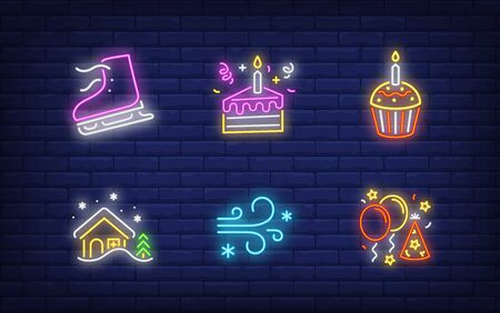 New Year party in neon style set. Glowing neon skate, muffin. Holiday, celebration, present. Vector illustration in neon style for greeting card, invitation, announcement