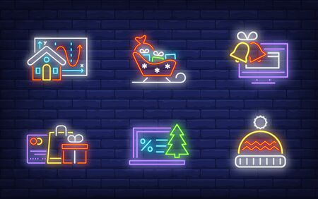 Winter shopping neon sign collection. Glowing neon bags, screen. Holiday, celebration, present. Vector illustration in neon style for greeting card, invitation, announcement