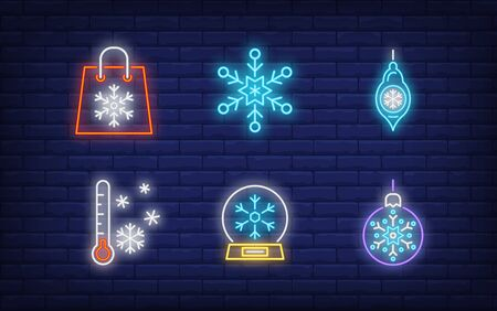 Winter symbol neon sign set. Glowing neon snowflakes. Holiday, celebration, present. Vector illustration in neon style for greeting card, invitation, announcement