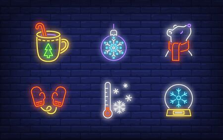 Winter holiday symbol in neon style set. Glowing neon bear, mitten. Holiday, celebration, present. Vector illustration in neon style for greeting card, invitation, announcement Illusztráció