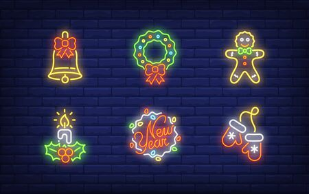 New Year symbols neon sign set. Glowing neon wreath, mittens, candle. Holiday, celebration, present. Vector illustration in neon style for greeting card, invitation, announcement Illusztráció