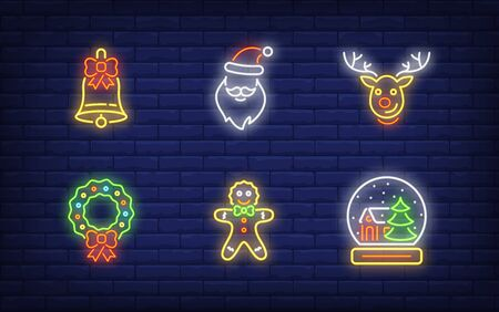 Christmas symbols in neon style collection. Glowing neon gingerbread man, wreath, deer. Holiday, celebration, present. Vector illustration in neon style for greeting card, invitation, announcement