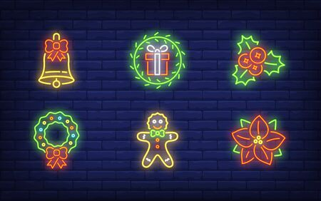Winter holiday symbol neon sign set. Glowing neon hollen, wreath. Holiday, celebration, present. Vector illustration in neon style for greeting card, invitation, announcement