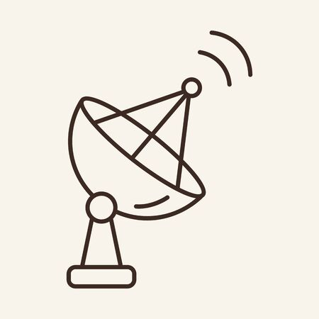 Satellite dish line icon. Dish, connection, signal. Communication service concept. Vector illustration can be used for topics like communication, telephony, voice connection