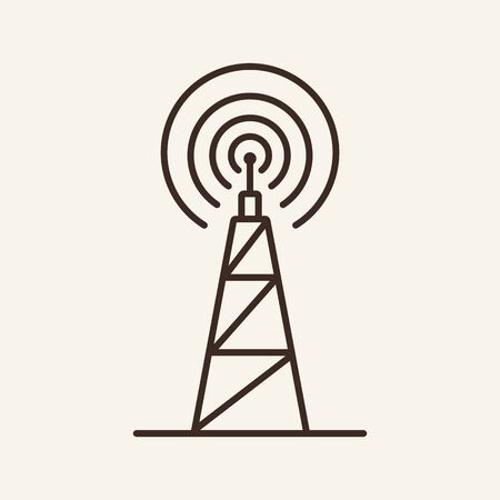 Satellite communication line icon. Dish, connection, signal, tower. Communication service concept. Vector illustration can be used for topics like communication, telephony, voice connection Фото со стока - 132571824