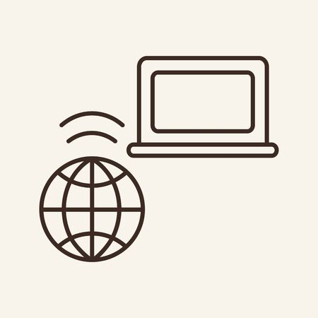 Global computer wifi network line icon. Laptop, planet, wireless. Communication service concept. Vector illustration can be used for topics like communication, telephony, voice connection