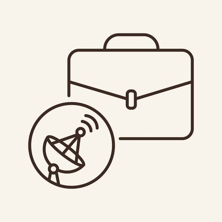 Satellite business line icon. Dish, connection, signal, briefcase. Communication service concept. Vector illustration can be used for topics like communication, telephony, voice connection