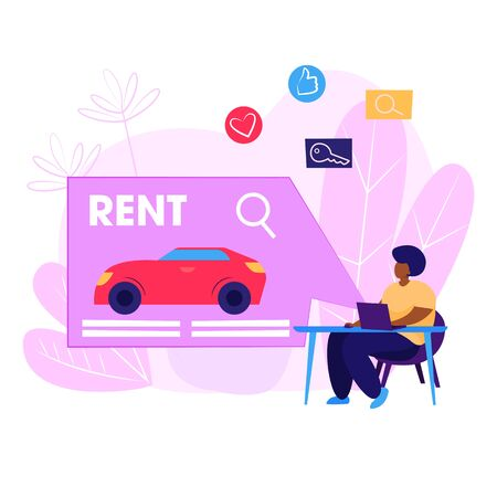 Car rental webpage. Woman using computer, choosing vehicle, giving feedback. Service concept. Vector illustration for topics like travel, tourism, car driving
